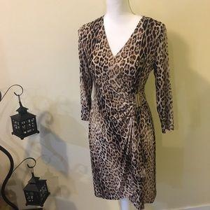 Calvin Klein leopard wrap dress